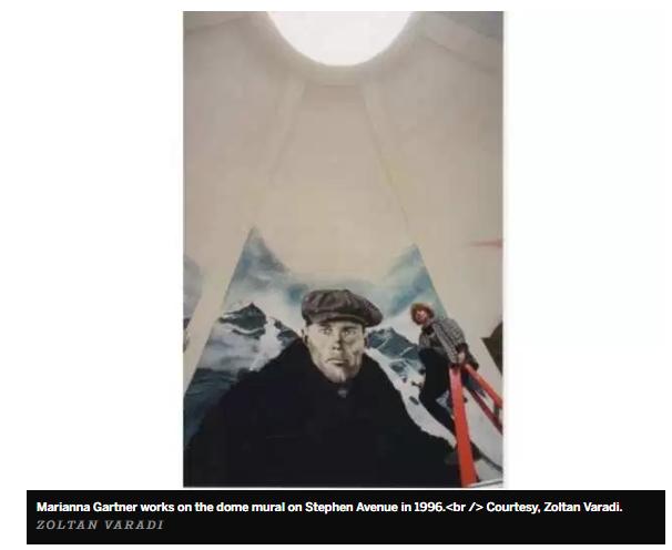 1996 Marianna Gartner working on the Calgary dome mural, photo by Zoltan Varadi