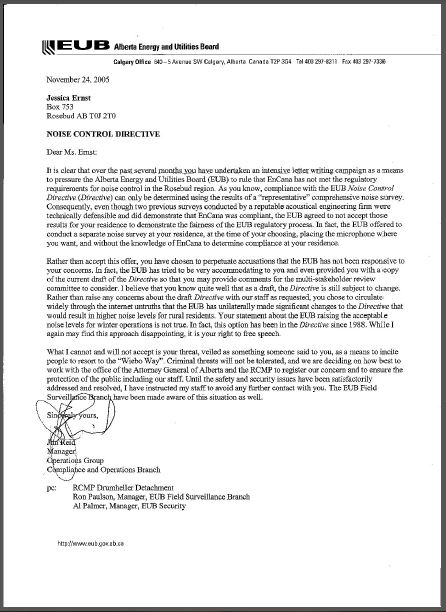 2005 11 24 EUB now AER Jim Reid Charter violating, banishment letter, judging Ernst criminal without evidence or charges instead of regulate law violating Encana