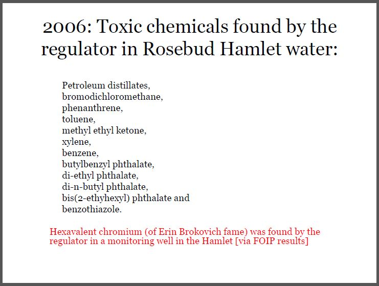 2006 Toxic chemicals found by the regulator in Rosebud Hamlet drinking water