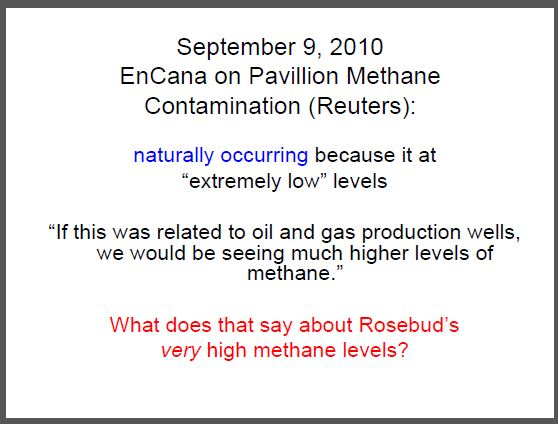 2010 09 09 Reuters reports incredible Encana admission on natural methane vs industry's