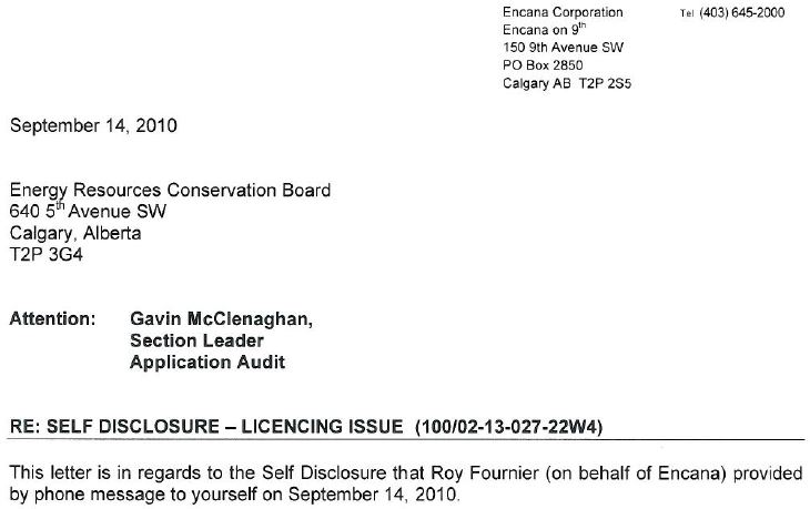 2010 09 14 Self-disclosure by Encana of non-compliance to ERCB, makes company compliant