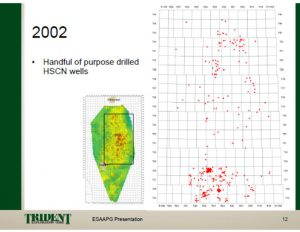2002 Map Trident Exploration Corp presentation 2010 initial shallow frac'd CBM wells Horseshoe Canyon AB
