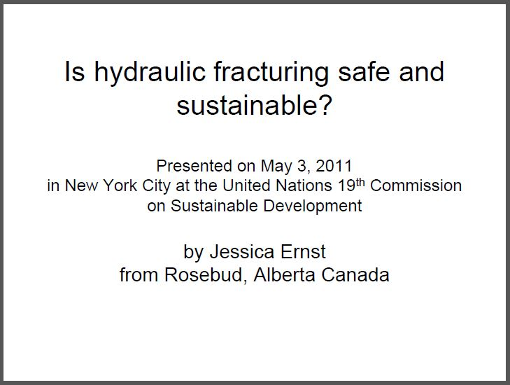 2011 05 03 Cover Jessica Ernst presents on fracing unsafe, unstainable, United Nations, New York City