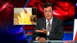 2011 07 11 Colbert Nation does Talisman Terry, show leads to Talisman putting Terry to rest, flammable frac water