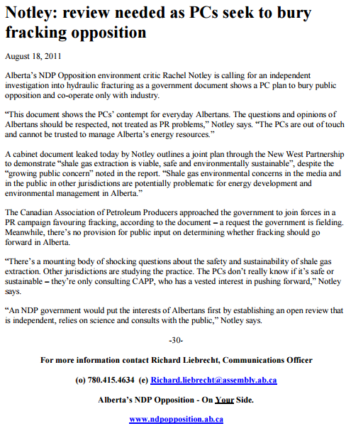 2011 08 18 Notley, NDP press release, 'calling for independent investigation into hydraulic fracturing'