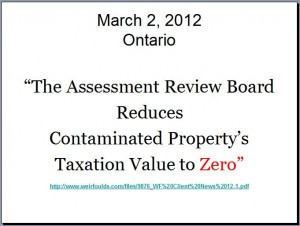 2012 03 02 Ontario Methane contaminated property valued at zero by Assement Review Board