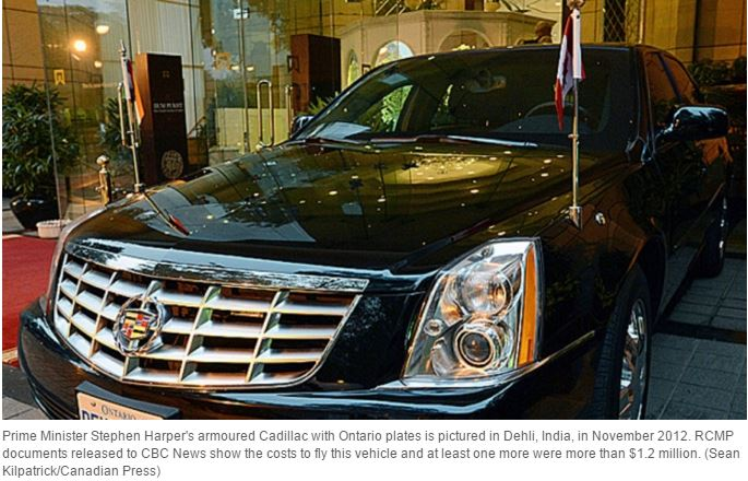 2012 Steve Harper's armoured cadillac flown to India, w at least another, cost Canadians 1.2 Million
