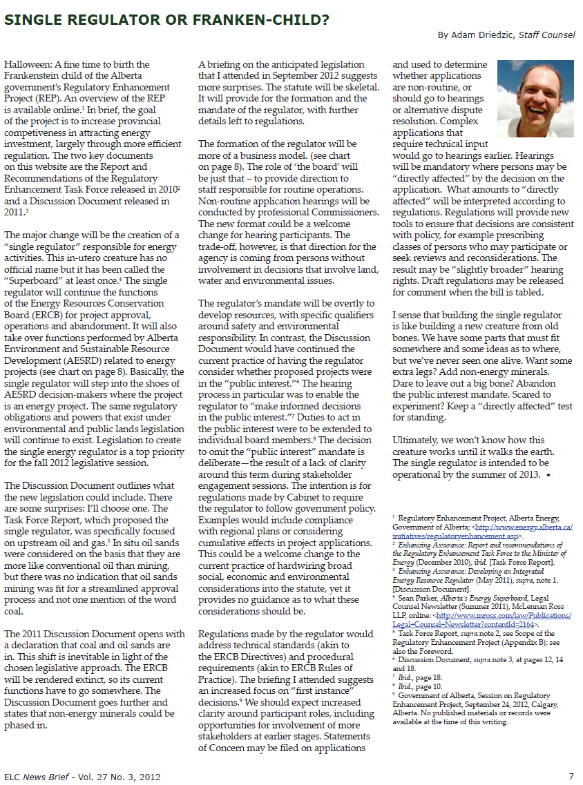 2012 10 ELC news brief pg 7 Alberta super ERCB snap One regulator or Franken Child
