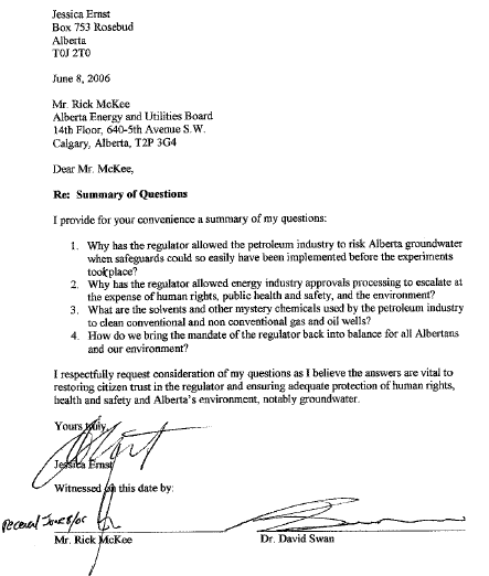 2006 06 08 Ernst Letter to EUB now ERCB Lawyer Rick McKee Requesting Frac Chemicals Injected