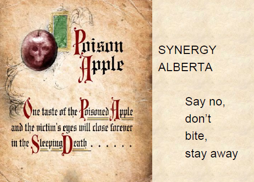 Synergy Alberta Don't Bite the Poisoned Apple Stay Away