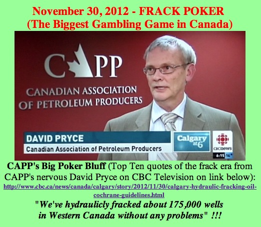 2012 11 30 CAPPPoker CBC earthquakes caused by hydraulic fracturing report featuring Alberta rancher Howard Hawkwood Minister Ken Hughes and CAPP
