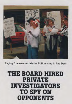 Ragging Grannies Sing to Protest Greed at EUB then ERCB soon to be AER Hearing in Red Deer Alberta 2007 10 22 Can Bus Mag Nikiforuk EUB Spying
