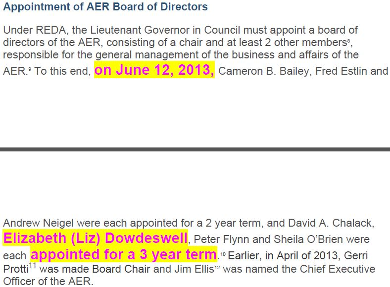 2013 06 12 Elizabeth (Liz) Dowdeswell, President CCA, appointed to AER Board during John Cherry's CCA Frac review