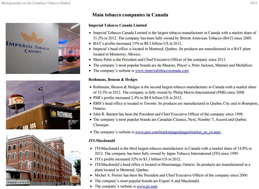 2013 Backgrounder on Canadian Tobacco Co profits etc