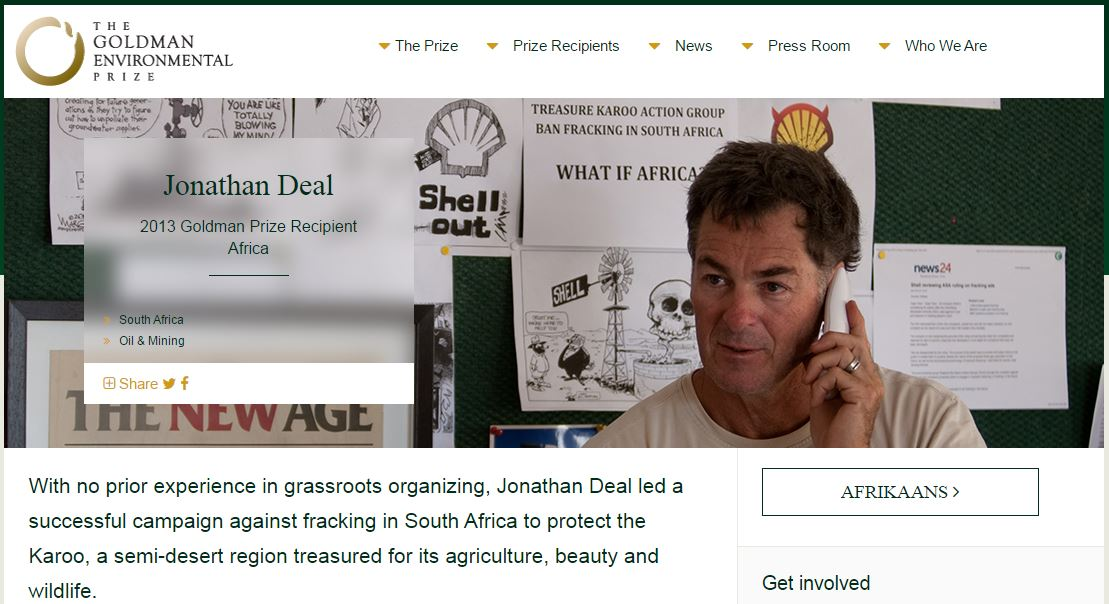 2013 Goldman Environmental Prize awarded to Jonathan Deal for keeping fracing out of the Karoo