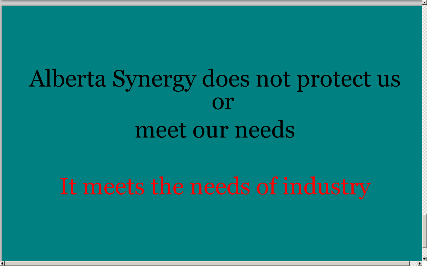 Alberta Synergy protects only industry