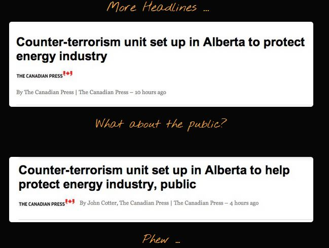 FrackingCanada on Counter-Terrorism RCMP Squad set up in Alberta to Protect Oil & Gas Industry with Public as Afterthought