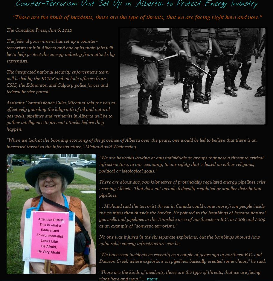 FrackingCanada on Counter-Terrorism RCMP Squad set up in Alberta to Protect Oil & Gas Industry