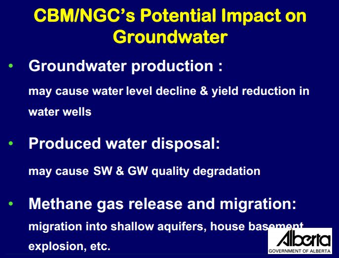 2006 Nga de la Cruz Alberta Environment Methane release migration into shallow aquifers, home basements, explosion