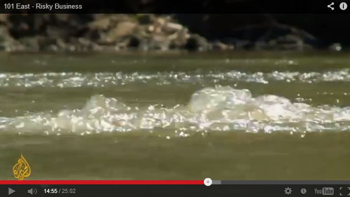 2013 01 14 Risky Business Al Jazeera CSG CBM report leaking methane bubbling in rivers in Australia