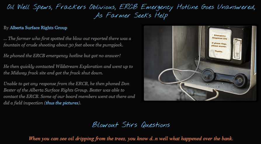 2012 01 Innisfail Frac Blow out ERCB does not answer Emergency Response Line