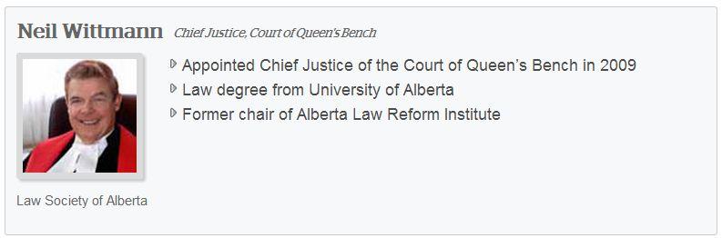 2013 07 26 Screen Capture Neil Wittmann Chief Justice Alberta Court Queen's Bench