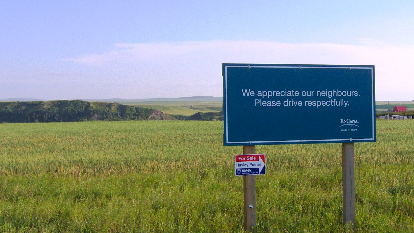 2013 08 09 Signs at Rosebud, Alberta: Encana and Remax 2.JPG