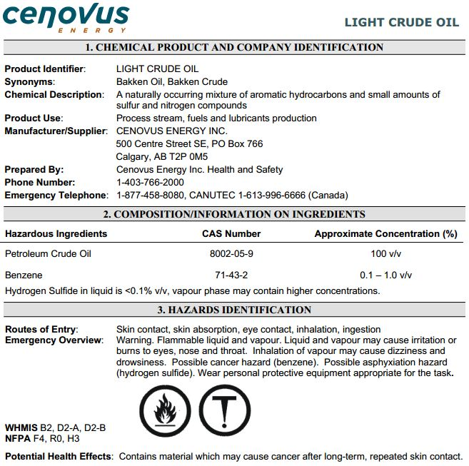2013 08 14 MSDS Cenovus Bakken Crude w Benzene H2S More flammable than gasoline