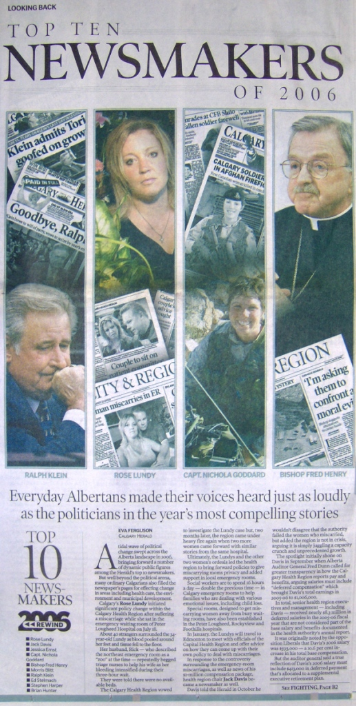 2006 12 31 Calgary Herald's Top Ten Newsmakers of 2006 Front Pg Section B.JPG
