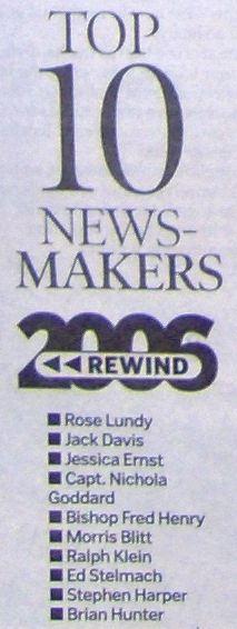 2006 12 31 Calgary Herald's Top Ten Newsmakers List