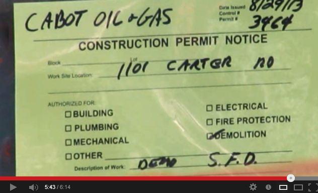 2013 09 04 Cabot Oil & Gas Sautner home demolition permit
