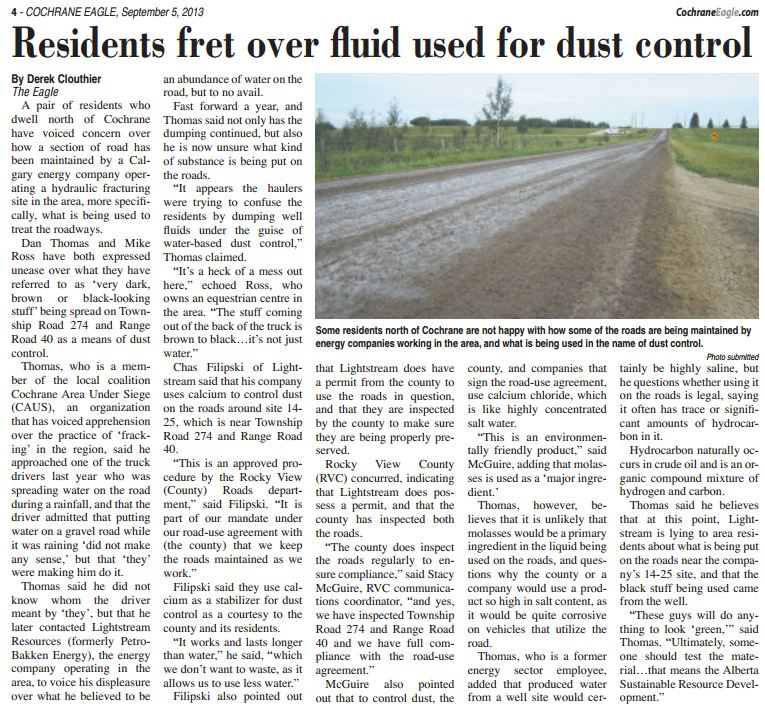 2013 09 05 Residents fret over oil and gas industry fluid sprayed on roads Is it frac fluid or waste