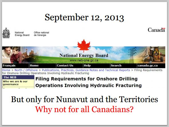 2013 09 12 NEB Onshore Frac Filing Reqments but only for the north, not for all Canadians