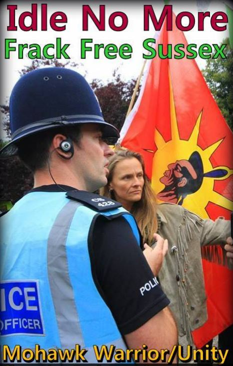 2013 09 13 Idle no More Frack Free Sussex Mohawk Warrior Unity Flag