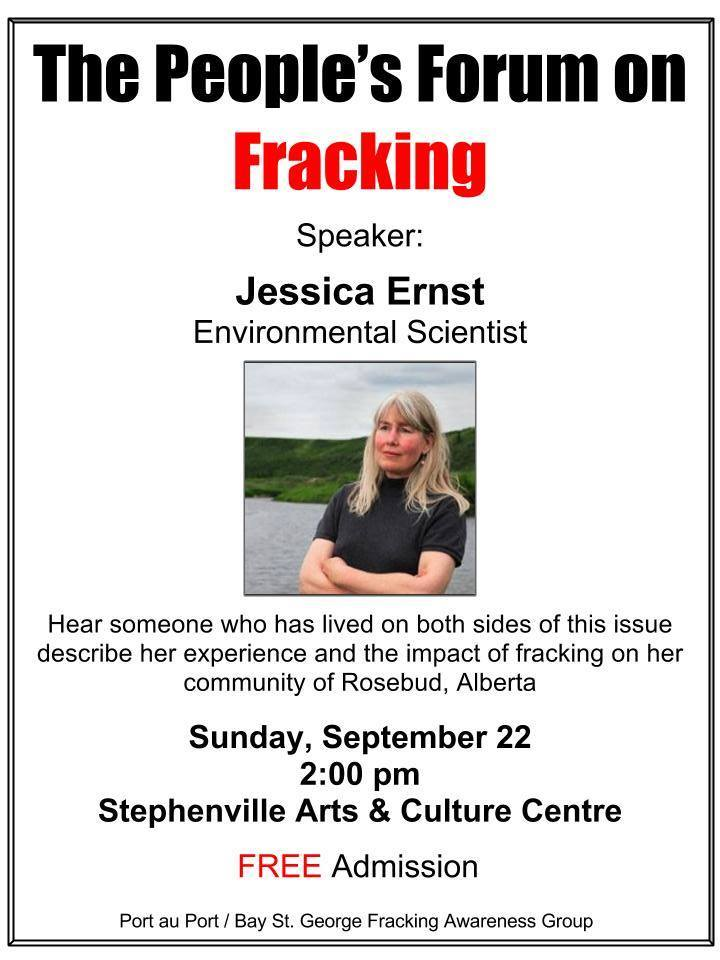 2013 09 22 Poster Jessica Ernst speaking at The People's Forum on Fracking Stephenville Newfoundland