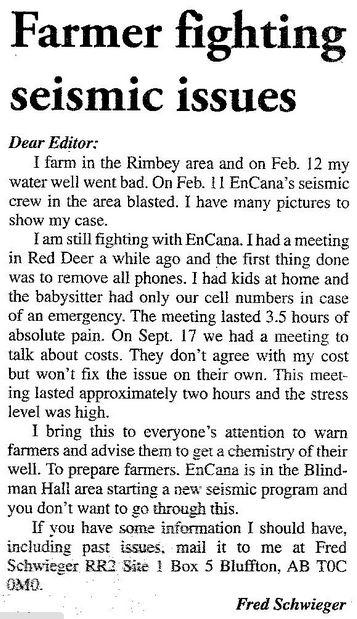 2013 09 24 Alberta farmer fighting Encana over loss of water well, arrogant bullying Encana takes farmers cell phone away in negotiation meeting