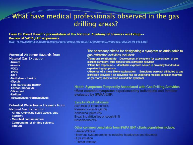 2013 09 Dr. Larysa Dyrszka Medical professional observations in oil and gas drilling areas