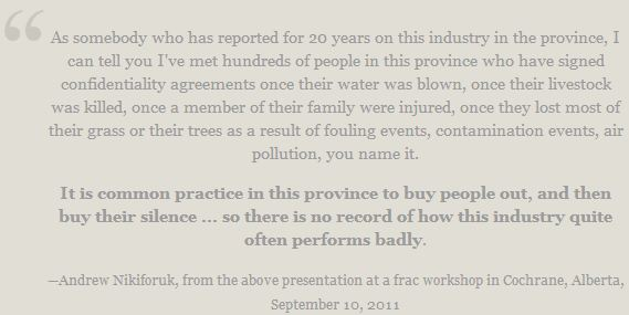 2011 09 10 Oil and gas industry reporter Andrew Nikiforuk on gag orders in Alberta