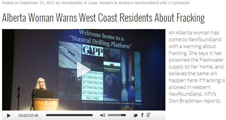 2013 09 23 screen capture NTV Alberta woman warns west coast residents about fracking