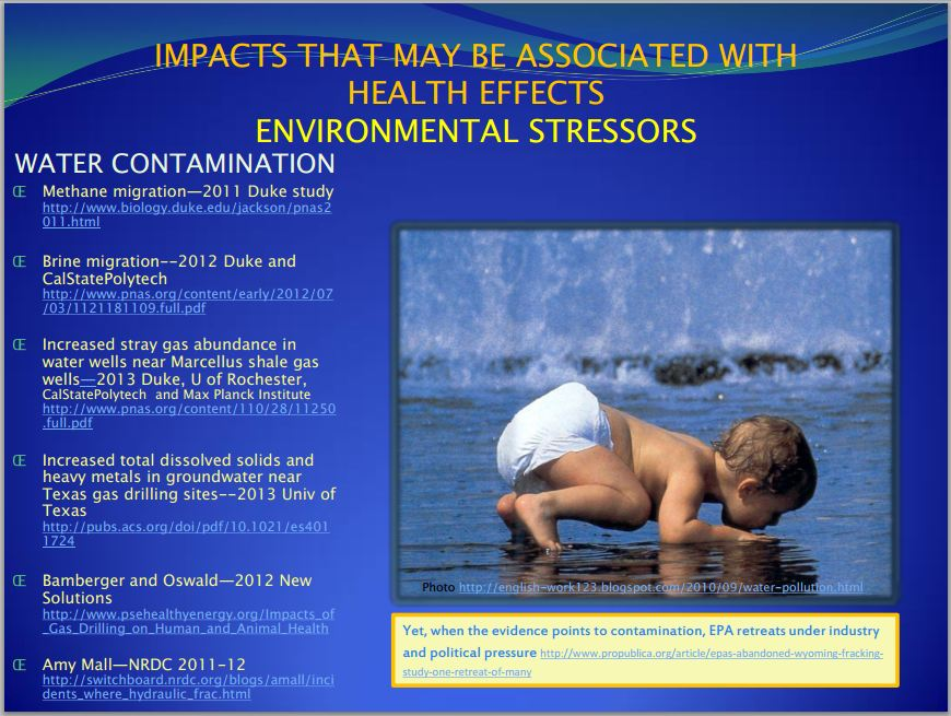 2013 09 Slide by Larysa Dyrszka impacts that may be associated with health effects from hydraulic fracturing environmental stressors