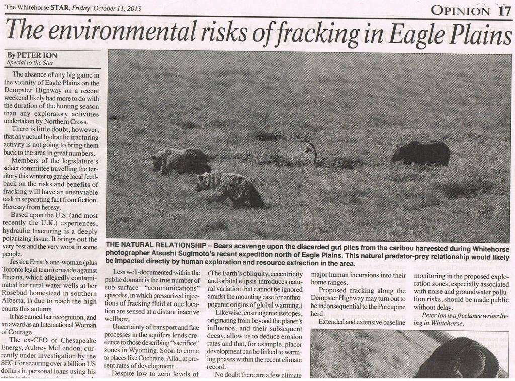 2013 10 11 The Whitehorse Star The environmental risks of fracking in Eagle Plains pg 1