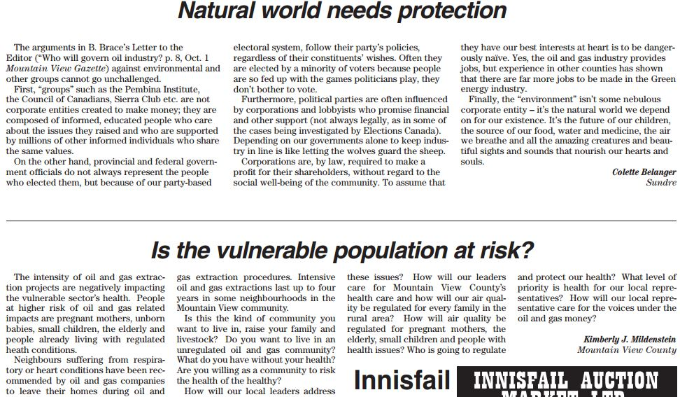 2013 10 15 Mountain View County Letters Natural world needs protecting and Is the vulnerable population at risk from hydraulic fracturing