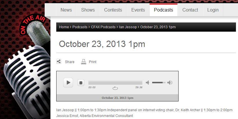 2013 10 23 Ian Jessop CFAX 1070 interviews Jessica Ernst