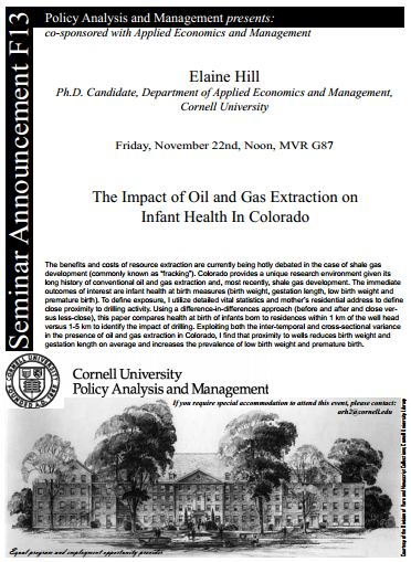 2013 11 22 Elaine Hill The impact of oil and gas extraction on infant health in Colorado