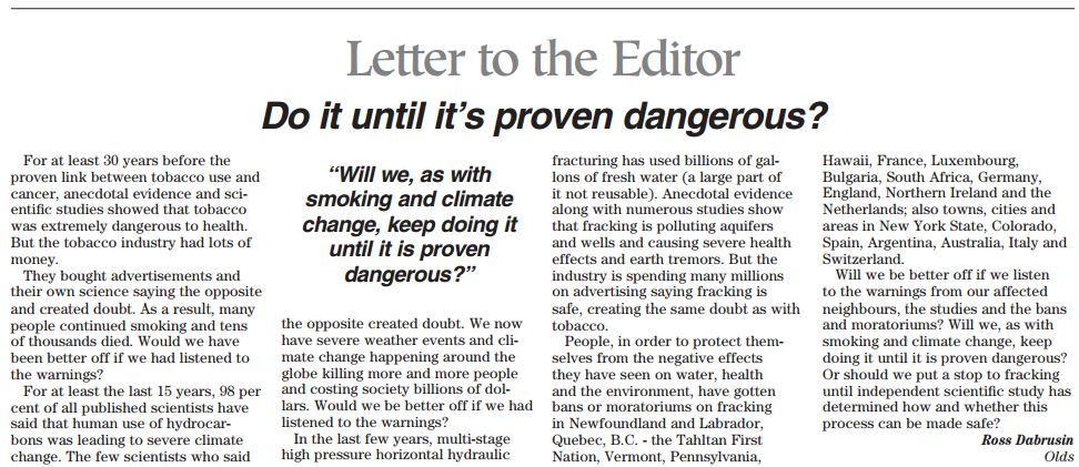 2013 112 10 Frack until is's proven dangerous by Ross Dabrusin in Mountain View Gazette