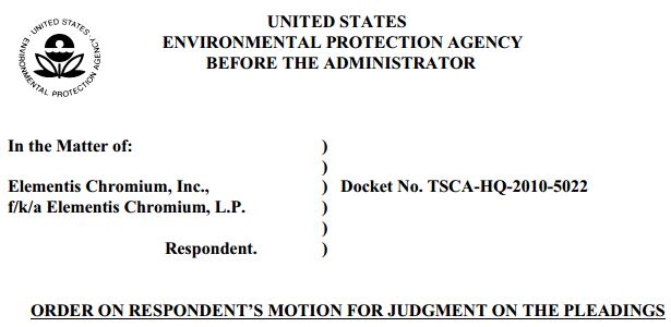 2013 12 22 Screen Capture of Judgment EPA v Elementis Chromium LP and Inc