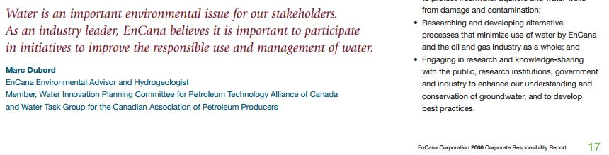 2013 12 23 screen capture encana corporate responsibility report 2006 marc dubord hydrogeologist quote