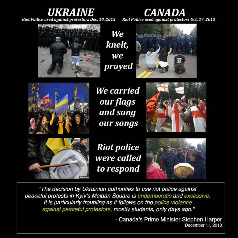 2013 Ukraine and New Brunswick riot police abuse protesters, violate their rights