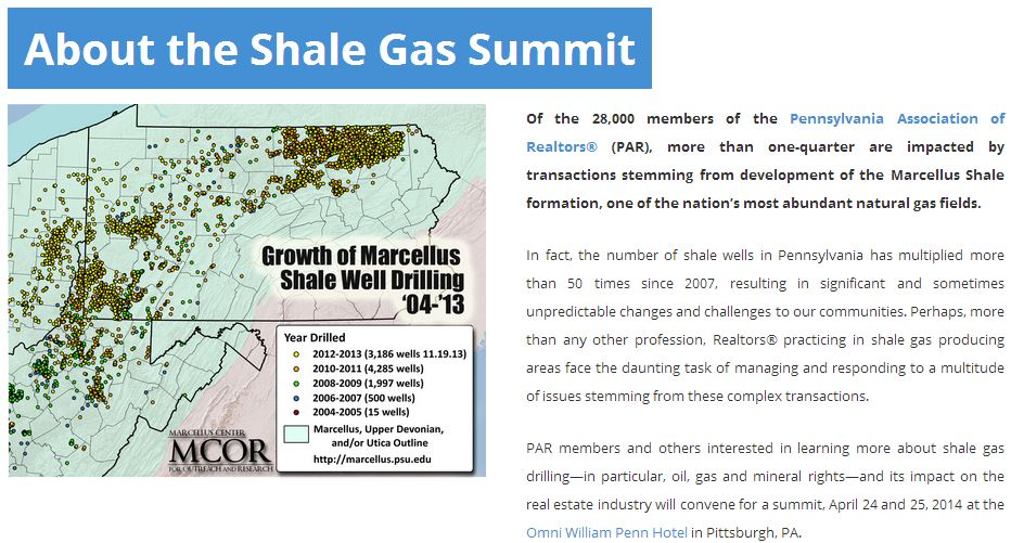 2014 04 Pennsylvania Shale Gas Summit 25 per cent realtors impacted by Marcellus fracing