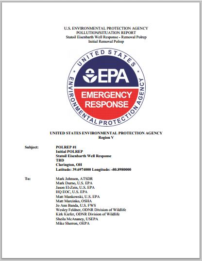 2014 06 29 29 EPA prelim investigation report Statoil Halliburton frac explosion and chemicals ohio